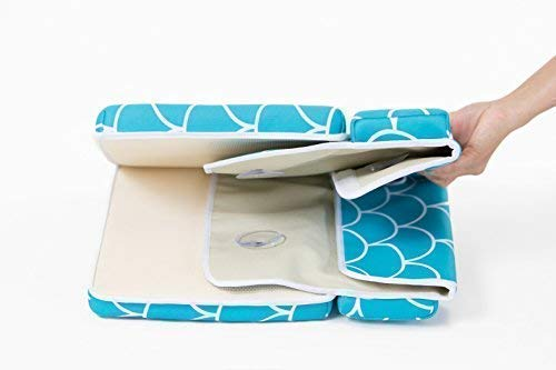 Baby Bath Kneeling Pad with Elbow Rest - Extra Long - Mermaid Design in Teal Blue - with Bonus Mesh Bath Toy Organizer - Wonderful Gift Set for Parents with a Infant, Toddler - by Fins + Tales (Image #6)
