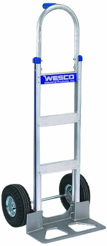 (Wesco 220325 Series 420 Cobra-Lite Aluminum Hand Truck with High Back Pin Handle, Pneumatic Wheels, 600-lb. Load Capacity, 18