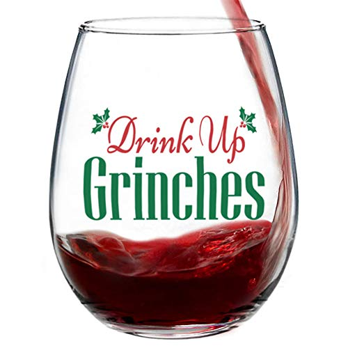 (Drink Up Grinches Stemless Christmas Wine Glass for Fun Christmas Holiday Present with Gift Box - 15 Ounces)