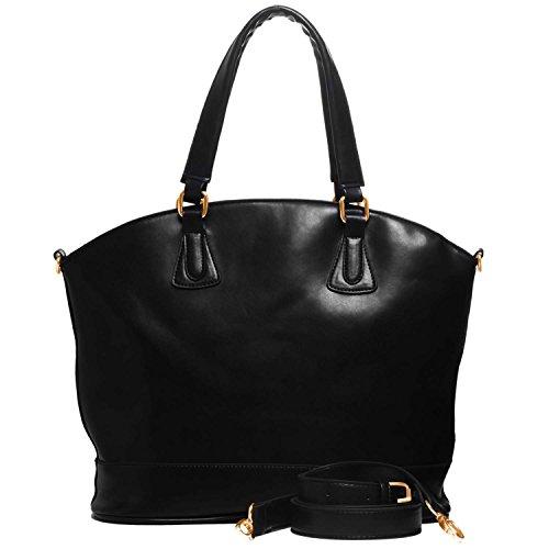 FASH Bowling Style Satchel Handbag Dual Top Handle ,Black,One Size (Pink Ladies Bowling Bag)