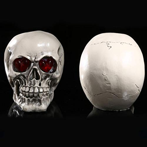 XOBULLO Led Resin Skull Statue Sculpture Human Shape Skeleton Head Demon Evil Decor Craft]()