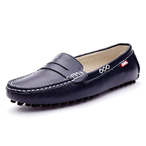 SUNROLAN 838-lan8.5 Casual Womens Genuine Leather Penny Loafers Driving Moccasins Slip-On Boat Flats Shoes (8.5 B(M) US, 838-Blue)
