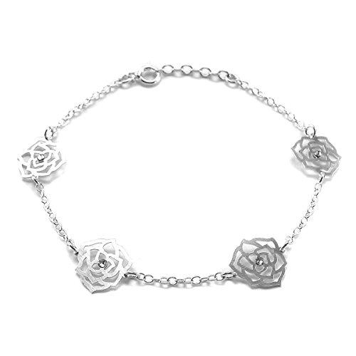 AvalonJewelry Sterling Silver Cut Out Flower Cute Bracelet ()