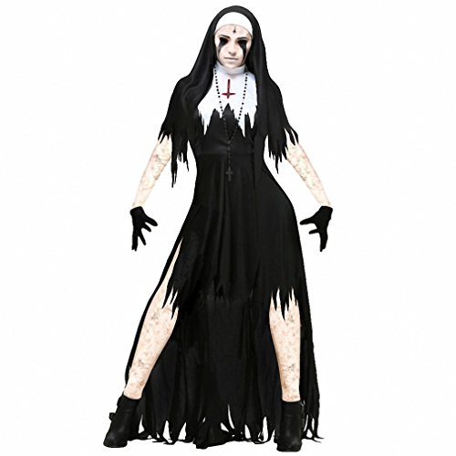 Halloween Nun Cosplay Costume Women Black Vampire Fantasy Dress Terror Sister Party Disguise Female Fancy For Adults Vampire Vampire
