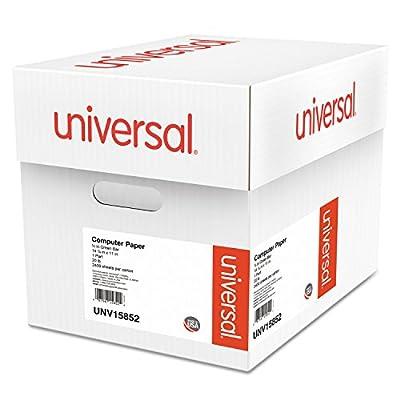Universal 15852 Green Bar Computer Paper, 20lb, 14-7/8 x 11, Perforated Margins, 2400 Sheets