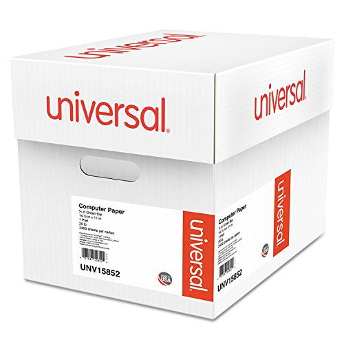 Universal 15852 Green Bar Computer Paper, 20lb, 14-7/8 x 11, Perforated Margins, 2400 Sheets