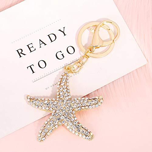 GH8 Kawaii Cute Rhinestone Marine Starfish Shape As Charms Car Key Chains Key Ring Tassels Keyring Keychains linnor Women Bag Charms DIY ()