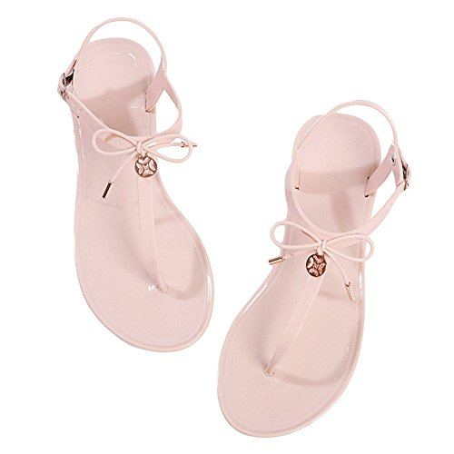 CYBLING Womens T-Strap Flat Sandals Thong Bowknot Summer Beach Dress Shoes Black Pink Non-Slip 8lRr0