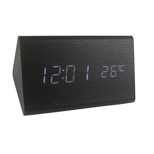 Clock Triangle Black (Dianoo Triangle Wooden Digital Alarm Clock, Wood Grain LED Light Alarm Clock with Time and Temperature Display & Sound Control - USB/AA Battery Powered, 1PCS (Black Wood + White Light))