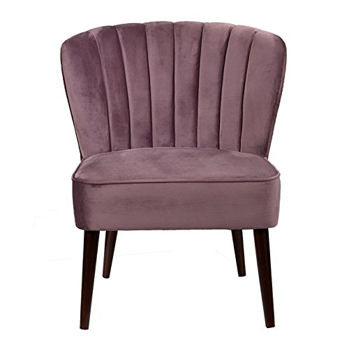 Mauve Armless Accent Chair with Tapered Legs