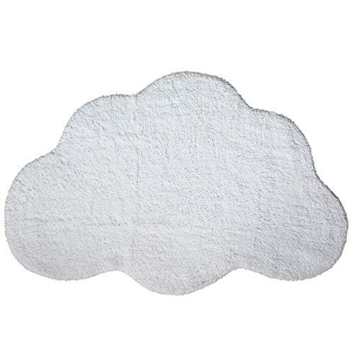 Habudda Cloud Shape Area Rugs for Kids Room Warm Soft 100% Cotton Luxury Plush Handmade Knitted Nursery Decoration Rugs Baby Crawling Rugs Carpet 100CM65CM (White)
