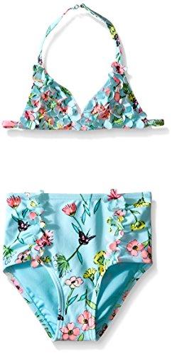 Hula Star Little Girls' Toddler Fairy Garden Two Piece Bikini, Aqua/Multi, 4T/4