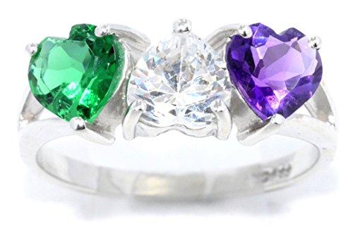 Simulated Emerald CZ Amethyst & Zirconia Heart Ring .925 Sterling Silver Rhodium Finish