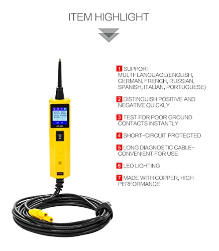 AUTOOL Automative Circuit Tester Power Probe Kit, Car Electrical Diagnostic Tool 12V/24V Circuit System Tester DC/AC Voltage/Polarity Locator with LED Flashlight by AUTOOL (Image #4)