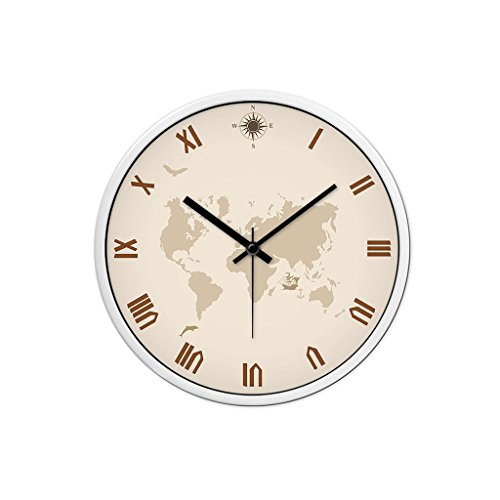 YONGJUN 12 Inch Wall Clock, Low Profile Retro Large Silent Wall Clock With Black Decorative Metal Bell, With Glass Cover ( Color : White bezel , Size : 14-inch ) -