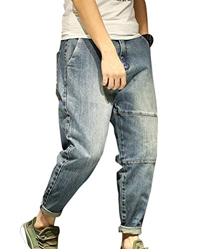 Giovane Uomo Jeans Fashion Slim Harem R Blau Pantaloni Saoye Larghi Regular tH0wtA