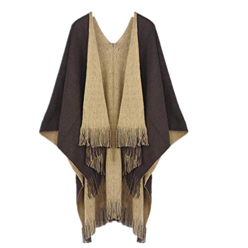 Clearance WUAI Womens Knitted Cardigan Cashmere Capes Shawl Cardigans Sweater Coat(Coffee,Free Size)