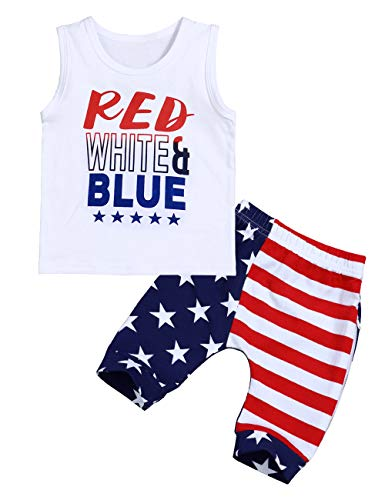 Toddler Baby Boy Clothes Patriotic 4th of July Red White Blue Vest Top USA Flag The Stars and Stripes Pants Outfits