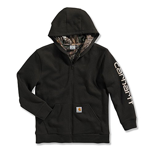 Carhartt Kid's CP8492 Camo Lined Logo Fleece Sweatshirt - Boys - Medium (10-12) - Dark Brown