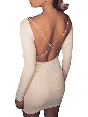Bowant Sexy Women Sequins Shining Long Sleeve Criss Cross Backless Party Evening Cocktail Club Short Mini Dress (M)
