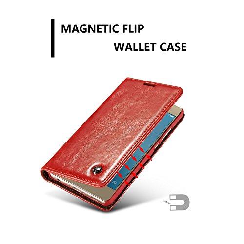 YAJIE-Carcasa Funda Para Huawei P9, Luxury Business Style Solid Color Premium PU Cartera de cuero Diseño magnético Flip Folio Funda protectora con Ranura para tarjeta / Soporte ( Color : White ) Red