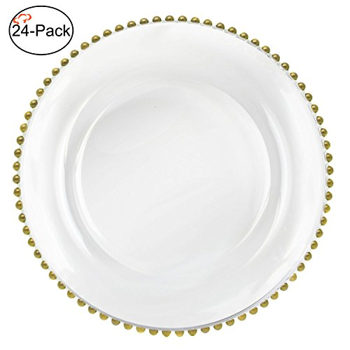 Tiger Chef 13-inch Gold Round Beaded Glass Charger Plates Set of 2,4,6, 12 or 24 Dinner Chargers (24k Gold Soup Plate)