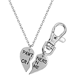 Lux Accessories Partners In Crime Partners Necklace Matching Dog Tag Collar Keychain.
