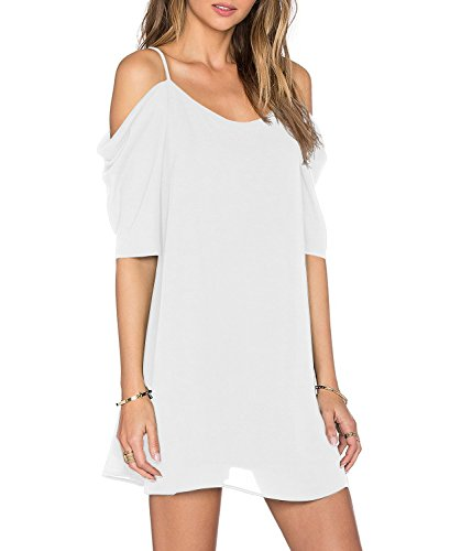 Women's Summer Spaghetti Strap Sundress Trumpet Sleeve Beach Slip Dress White Large