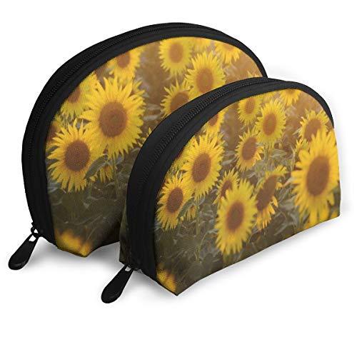 (Pouch Zipper Toiletry Organizer Travel Makeup Clutch Bag Sunset Sunflowers Portable Storage Bags)
