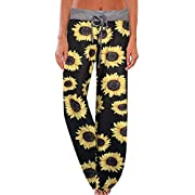 JINGCHENG Women's Comfy Stretch Floral Print High Waist Drawstring Palazzo Wide Leg Pant