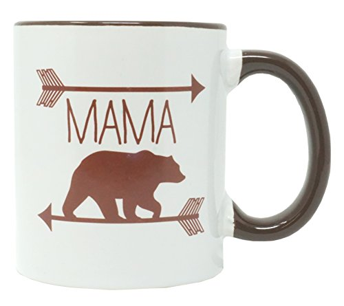 Funny Guy Mugs Mama Bear Ceramic Coffee Mug, White, 11-Ounce Bear Ceramic Coffee Mug