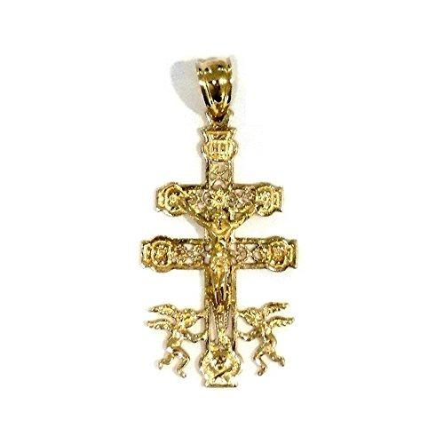 Croix pendentif Caravaca 35mm crucifix d'or 18k. amélioration de filigranes christ [AA7217]