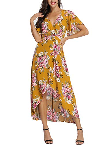 Azalosie Wrap Maxi Dress Short Sleeve V Neck Floral Flowy Front Slit High Low Women Summer Beach Party Wedding Dress Yellow (Holiday Florals Faux)