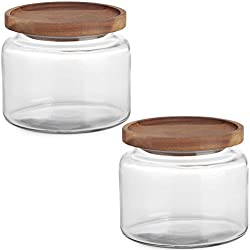 Anchor Hocking (2 Pack) 48oz Glass Jars Kitchen Canister With Wood Lids Food Storage Container Set