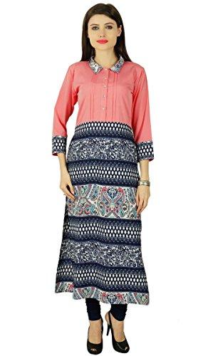 Floral Rayon Ethnic 3/4 Sleeve Kurti Bollywood Tunic Kurta Women Dress Top