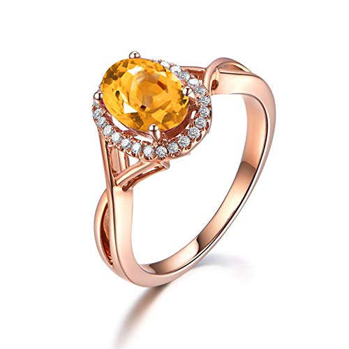 Epinki 925 Sterling Silver Ring Oval Unique Women Rings Solitaire Rose Gold with Yellow Citrine Spinner Rings Cat Size 9