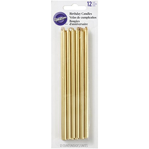 (Wilton 2811-8948 Tall Gold Birthday Candles, 12 Count )