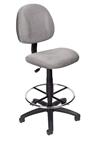 Boss Office Products B1615-GY Ergonomic Works Drafting Chair without Arms in Grey - Boss Office Desk