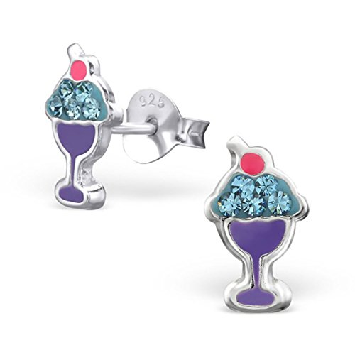 Cute Small Ice Cream Glasses Studs Earrings Children Girls Pink Purple Crystals Sterling Silver 925 (E26509) ()