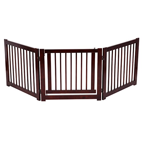 """Price comparison product image Giantex Pet Gate with Door Wooden Pet Playpen Adjustable Panel Safety Gate,  Cerise Finish (24"""")"""