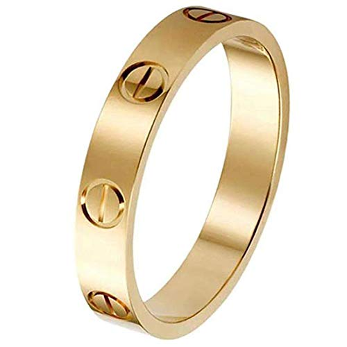 uiiFan Love Rings Lifetime Promise with Screw Design Wedding Band Best Gifts for Love with Valentine's Day Promise Engagement Wedding Bands for Women Girls