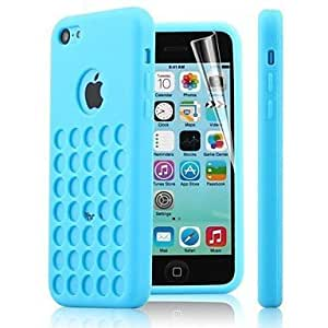 LJF phone case ZLXUSA (TM) Dots Hole TPU Soft Case for iphone 5/5s Blue