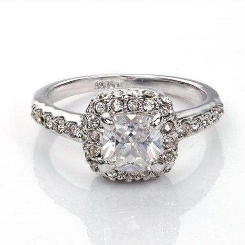 Fashion Plaza Princess Cut Cubic Zirconia Engagement Ring R216-6.5