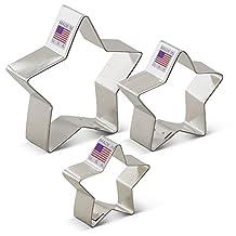 """Ann Clark Star Cookie Cutter Set - 3 Piece - 2"""", 2 3/4"""", & 3 1/2"""" - Tin Plated Steel"""