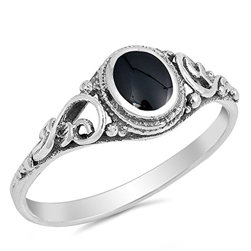 Filigree Simulated Black Onyx Polished Ring New .925 Sterling Silver Band Size - Silver Large Ring Onyx