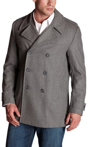 Calvin Klein Men's Classic Double Breasted Peacoat,Light Grey Heather,X-Large
