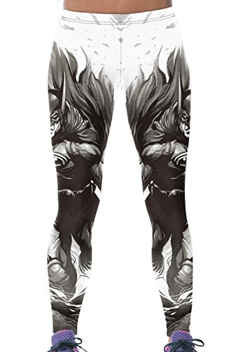 (Lady Queen Women's Batman Printed Tight Stretch Sport Legging Pants One Size Black)