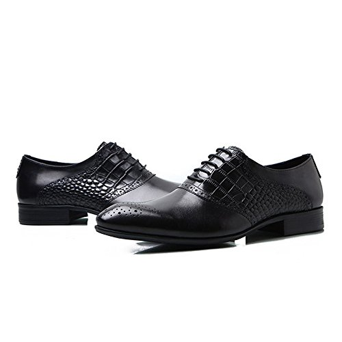 Fulinken Genuine Leather Men Lace up Oxfords Business Shoes Formal Dress Shoes Black Qn258ijk