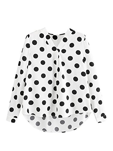 Floerns Women's V Neck Long Sleeve Striped Chiffon Blouse Top Black White S