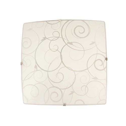 Simple Designs Home FM3001-WHT Square Flushmount Scroll Swirl Design Ceiling Light, White